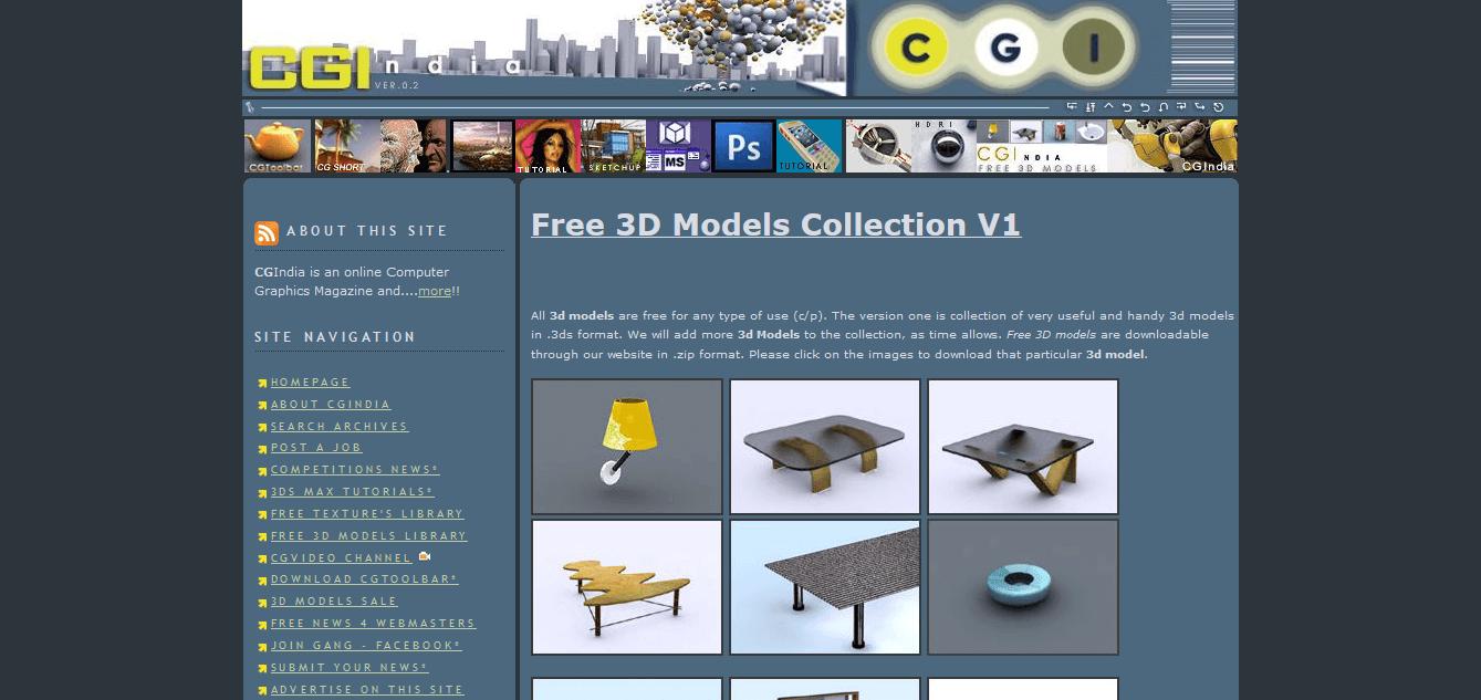 anteprima del sito di modelli 3d cgi